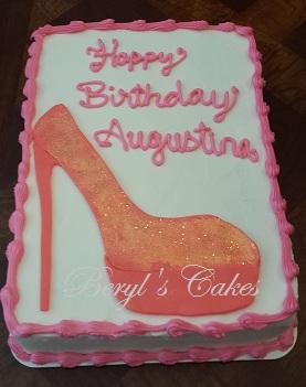 Awe Inspiring High Heel Shoe Sheet Cake Birthday Cards Printable Inklcafe Filternl